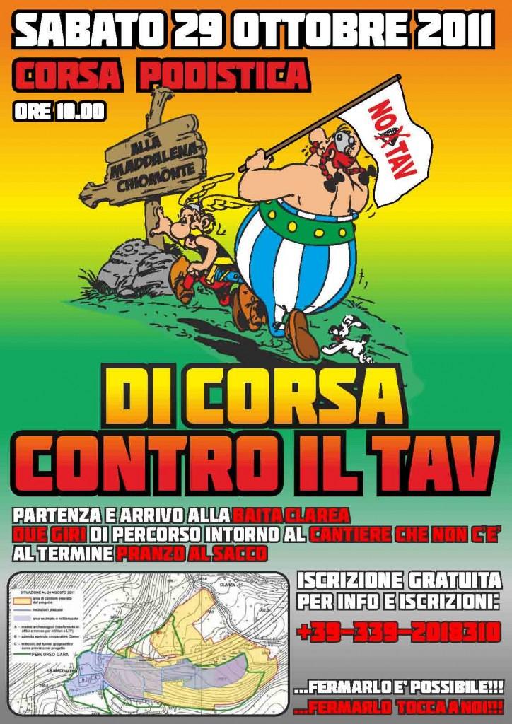 DI CORSA CONTRO IL TAV                  sabato 29 ottobre DUE GIRI DI CORSA ATTORNO AL CANTIERE CHE NON C'E'!!!