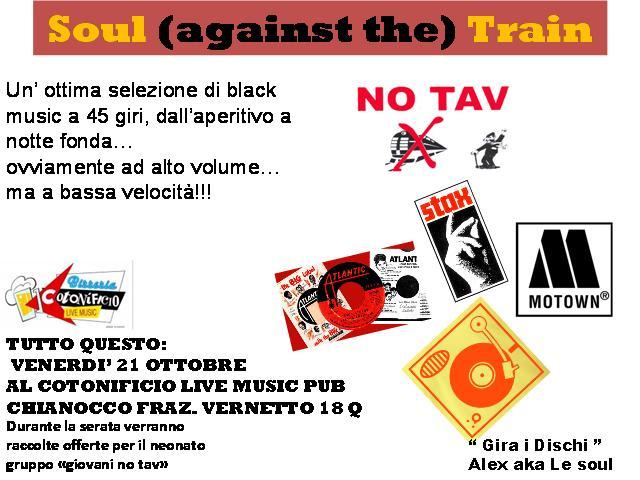 """I GIOVANI NO TAV INVITANO TUTT* A """"SOUL against the TRAIN"""""""