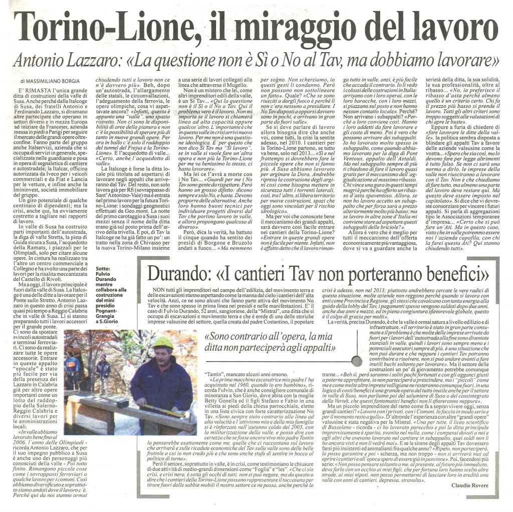 Torino Lione: il miraggio del lavoro (da Lunanuova)