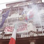 La Bandiera Notav al comune di Torino e nei cortei del Primo Maggio