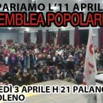 3 Aprile Assemblea Popolare per preparare l'11 Aprile