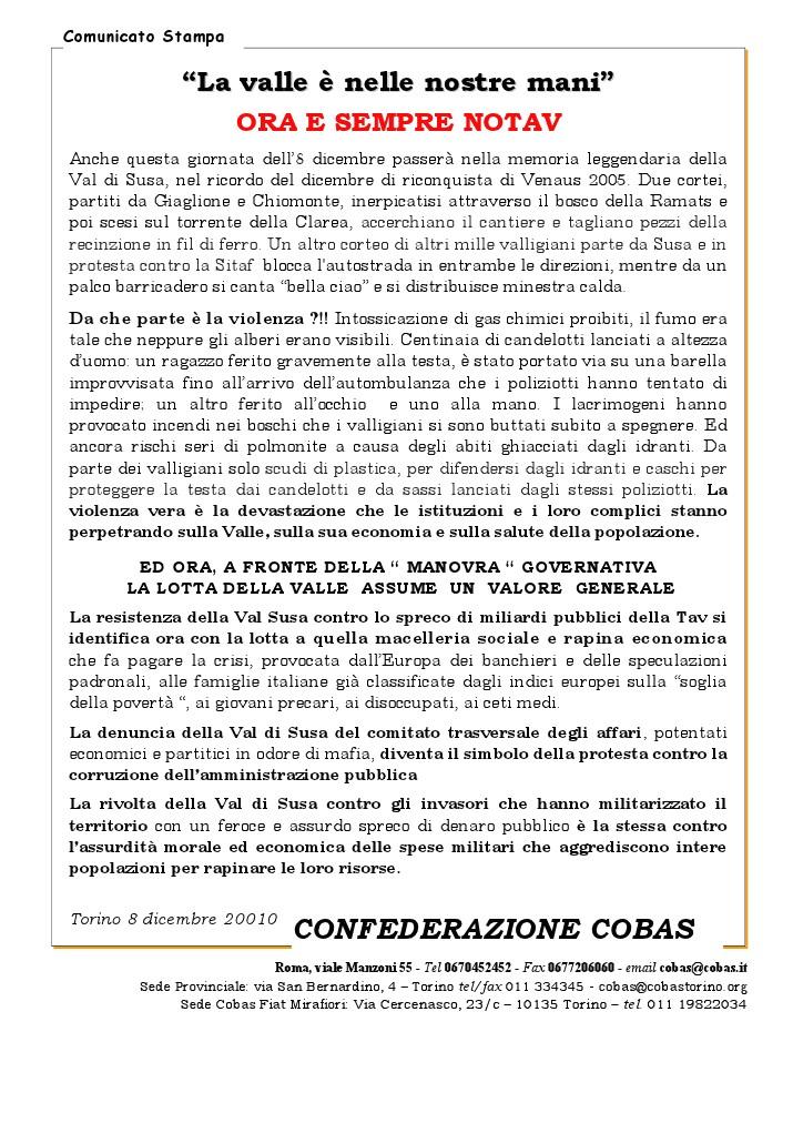 SOLIDARIETA' DALLA CONFEDERAZIONE COBAS