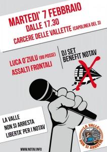 7/2 O' ZULU' (99 posse) + ASSALTI FRONTALI: dj set davanti al carcere delle Vallette per i NOTAV