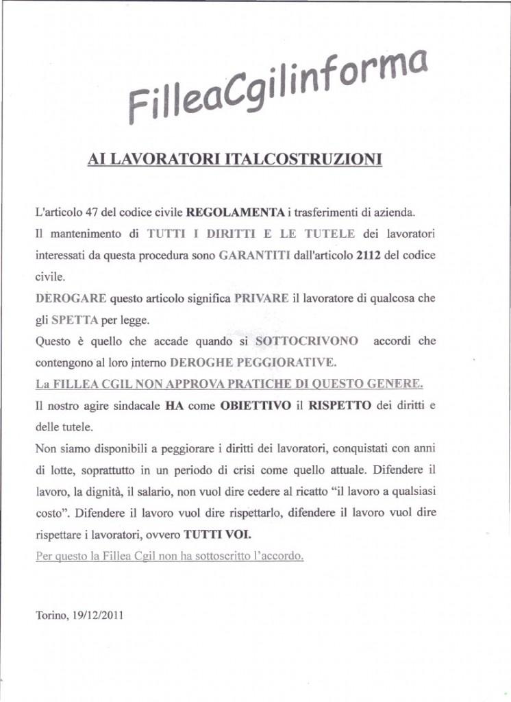 LA CGIL FILLEA NON FIRMA L'ACCORDO DELLA ITALCOSTRUZIONI