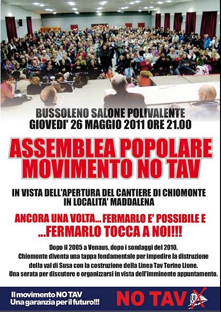 GIOVEDI' 26 MAGGIO: ASSEMBLEA POPOLARE