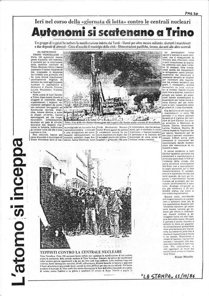 10 ottobre 1986: Autonomi si scatenano a Trino