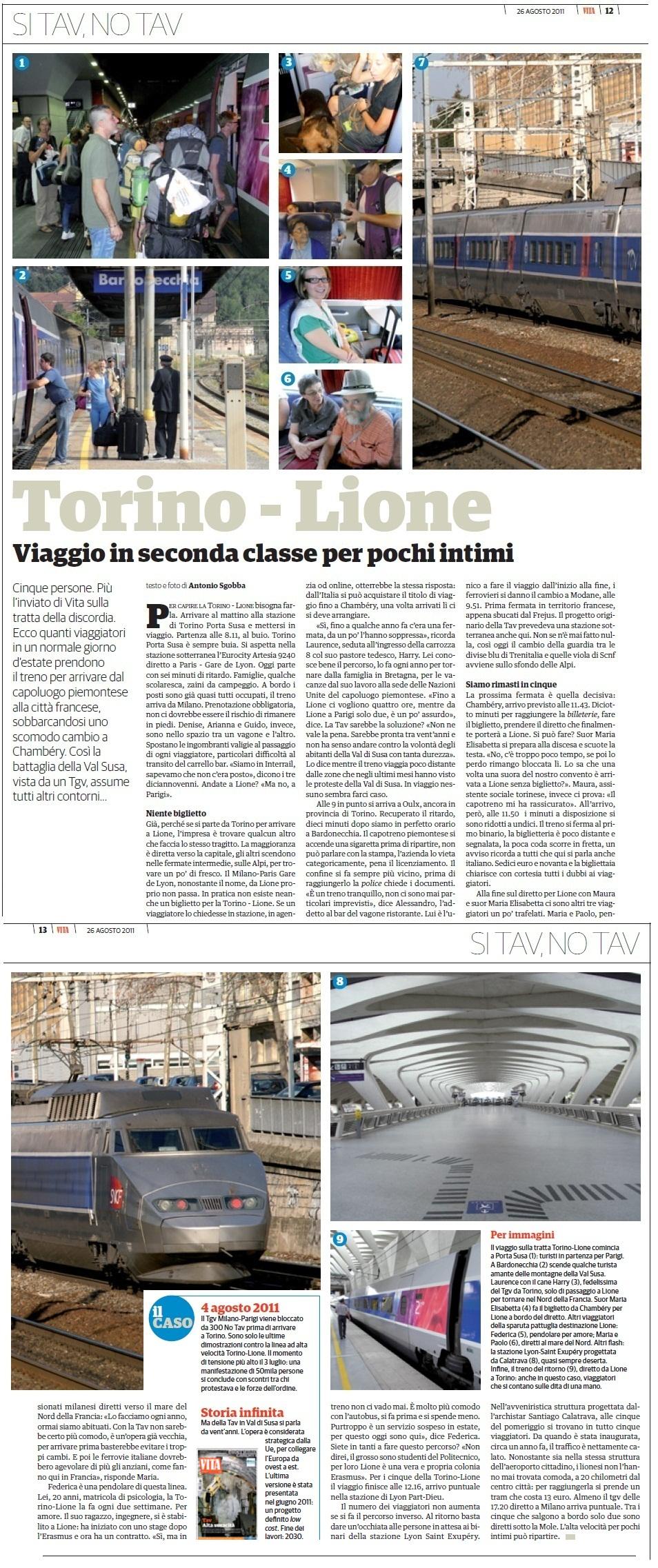 """""""TORINO-LIONE un viaggio in seconda classe per pochi intimi"""" foto e testi di Antonio Sgobba"""